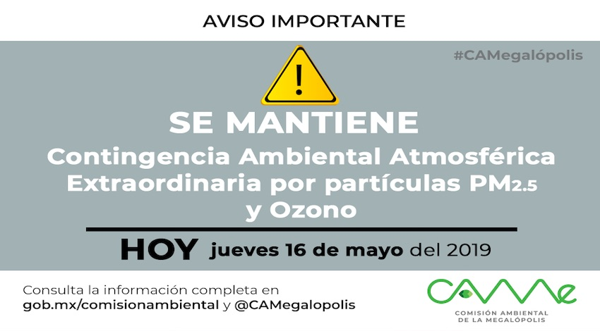 CAMe sigue contingencia ambiental
