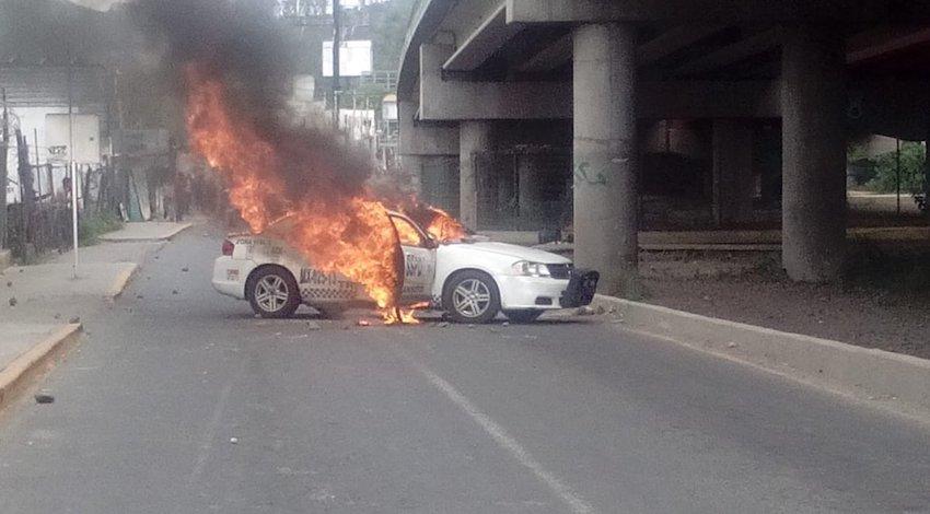 Patrulla quemada San Juan Ixhuatepec