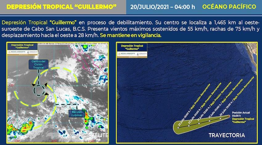 SMN Depresión Tropical Guillermo