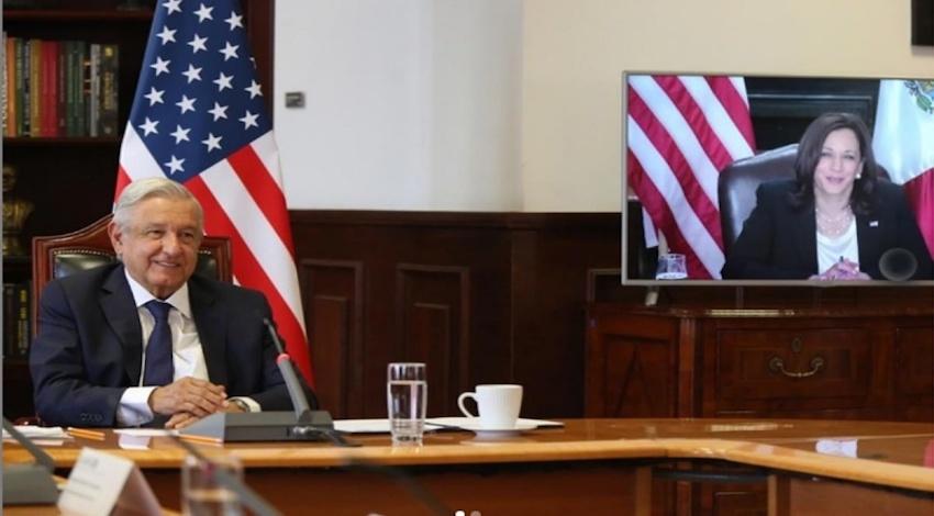 Andrés Manuel López Obrador y Kamala Harris